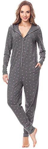 Merry Style Damen Jumpsuit Schlafanzug MSLL1005 (Dunkelmelange/Herzen, S)