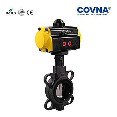 Fincos DN80 Wafer Cast Iron Pneumatic Butterfly Valve Double Acting 3'' Casting Pneumatic Butterfly Valves with SS304 Disc EPDM Sealing from Fincos