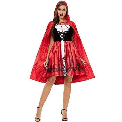 Pijamas para Mujer Pijama Sexy Disfraz De Cosplay De Caperucita Roja De Halloween-Rojo_XXL