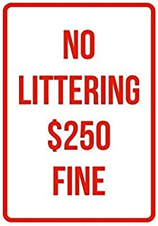 Kevin Porter Tin Sign New Metal Sign Funny No Littering 250 Fine No Parking Business Safety Traffic Signs Red Room Plaque Sign 11.8