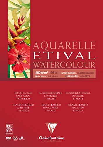 CLAIREFONTAINE Bloco de Papel Para Aquarela Etival A5 200G, Branco
