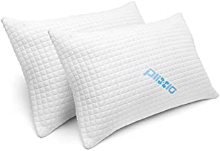 Shredded Memory Foam Bed Pillows for Sleeping - Bamboo Cooling Sleep Pillow for Back and Side Sleeper - Queen Size (Queen - 2 Pack)