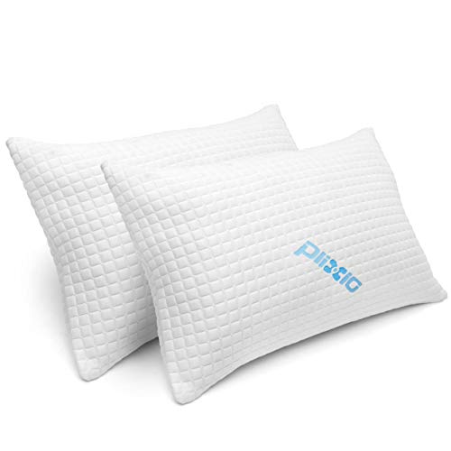 2 Pack Shredded Memory Foam Bed Pillows for Sleeping - Bamboo Cooling...