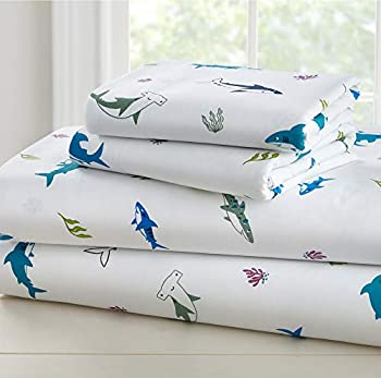 Wildkin Kids 100% Cotton Full Sheet Set for Boys and Girls Bedding Set Includes Top Sheet Fitted Sheet Two Standard Pillow Cases Certified Oeko-TEX Standard 100 Olive Kids Shark Attack