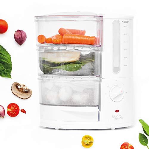 Bianco di Puro Dampfgarer rapido 9L - BPA Frei - Patentiertes -Schnellheizsystem - 50% schneller - Inkl. 4 Garbehälter & Clean Eating Buch