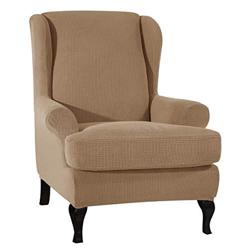 CHUN YI Ohrensessel Schonbezug Jacquard Elastische Sofaüberwurf Schutzhülle aus elastischem Sessel Husse für Ohrensessel (Kamel, Ohrensessel)