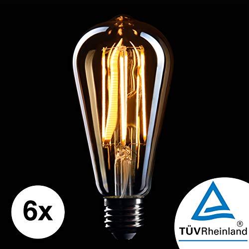 CROWN LED 6 x Edison Glühbirne E27 Fassung, Dimmbar, 5W, 2200K, Warmweiß, 230V, EL10, Antike Filament Beleuchtung im Retro Vintage Look