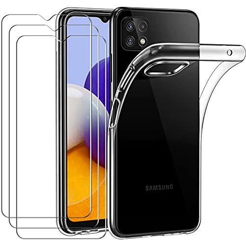 ivoler Hülle für Samsung Galaxy A22 5G, mit 3 Stück Panzerglas Schutzfolie, Dünne Weiche TPU Silikon Transparent Stoßfest Schutzhülle Durchsichtige Handyhülle Kratzfest Hülle