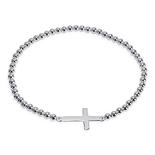 AeraVida Faithful Christian Cross .925 Sterling Silver Elastic Beads Bracelet