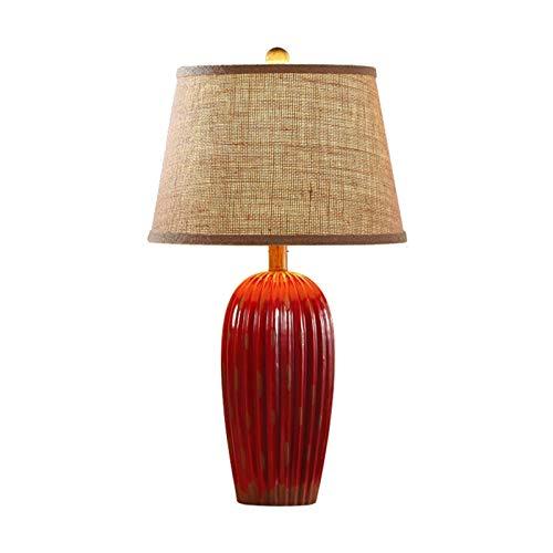 Lampara Moderna Lámpara de mesa de estilo retro con base de cerámica texturada y tela de lino gruesa Lámpara de tela LED Lámpara de contador de cabecera: 24.4 pulgadas, Hecho a mano Lámparas de Escrit