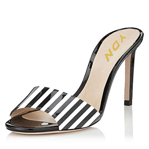 YDN Women Open Toe High Heel Sandals Slip On Mules Sexy Stilettos Pumps Party Slide Shoes Black Stripe 11 (10cm)
