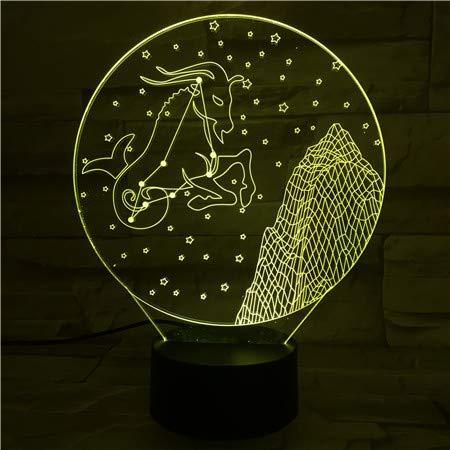 3D illusie nachtlampje LED steenbok sterrenbeeld licht voor kinderen kinderen decoratie verjaardag cadeau 7 kleurwisseling met afstandsbediening USB powered home slaapkamer decoratie