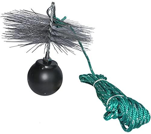 AERZETIX - Juego de deshollinador - herramientas de limpieza para desatascar chimeneas - cepillo metálico Ø200mm - cuerda Ø5mm longitud 10m - bola 1.8kg - mosquetón - C49985