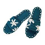 JJZXLQ Zapatos de Bricolaje Ganchillo Hecho a Mano Tejer A Crochet Transpirable Cómodo Zapatillas Zapatillas Mujeres y Hombres Zapatillas de casa,Azul,41