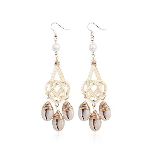Wehugonua Elegante rotan shell oorbellen boho weave wikkelaar stro-oorbel schelp handgemaakte oorbellen kroonluchter instructies oorbellen voor vrouwen meisjes geschenken voor dames