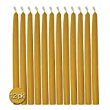 Hyoola 9 Inch Beeswax Taper Candles 12 Pack – Handmade, All Natural, 100% Pure Unscented Bee Wax Candle -...