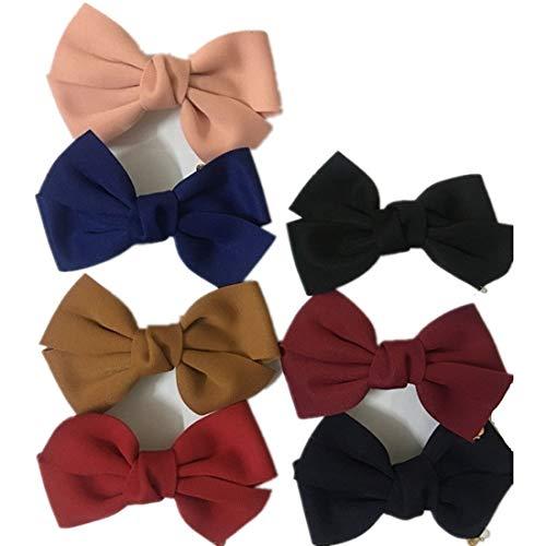 TQsuen 7 Pack Fashion Women Girls Bowknot Hair Barrettes, 6 Inches Large Solid Color Bowknot Hair Clips Hair Bow Clips Headwear Headwrap Hair Accessories for Women Girls Teens, Pack of 7