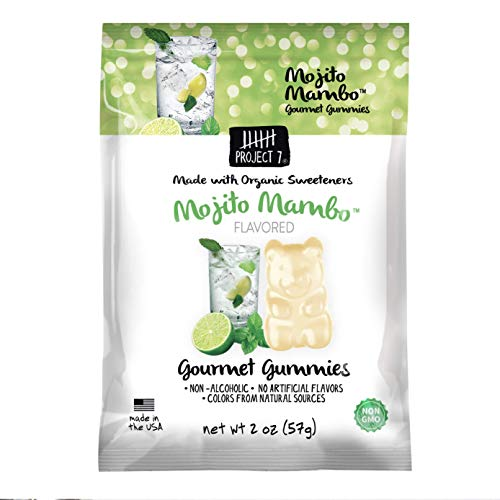 Project 7 Natural Gourmet Gummies – Mojito Mambo Gummy Bears – Organic Sweeteners, Non-GMO, Made in The USA, No Artificial Colors, Flavors or Preservatives – 8 Packs (2oz pouches)