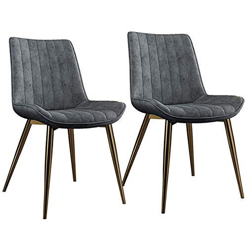 zyy Juego de 2 sillas de cocina, estilo vintage, sillas de cocina, sillas de salón, sala de estar, con patas de metal, asiento y respaldos de piel sintética (color gris)