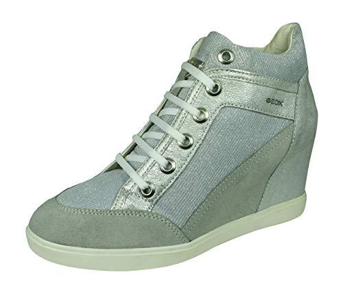 Geox D Eleni C, Sneaker a Collo Alto Donna, Grigio (Lt Grey/Silver), 40 EU