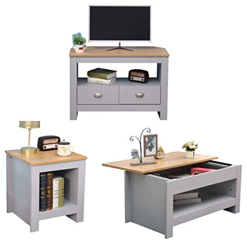 CF Furniture Living Room 3 Piece Set Lamp Table Sliding Top Coffee Table TV Stand Modern Simple Practical Grey+Oak