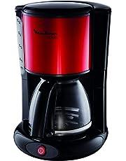 MOULINEX Cafetières filtre SUBITO rouge10/15 Tasses Machine à café cafetière électriqueCafetière Capacité 1.25L Antigoutte Porte-filtre pivotant Auto off 30 minutes FG360D11