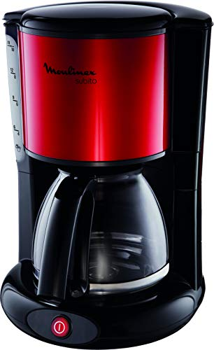 Moulinex FG360D Filterkaffeemaschine Subito | Glaskanne | 10-15 Tassen | Automatische Abschaltfunktion | Edelstahl | Rot/ Schwarz