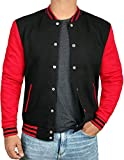 Black and Red Varsity Jacket Men - Baseball Jacket | [4908853] Plain Red Sleve, M