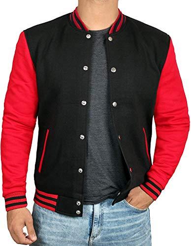 Black and Red Varsity Jacket Men - Baseball Jacket [40020023] | Plain Red Sleve, M
