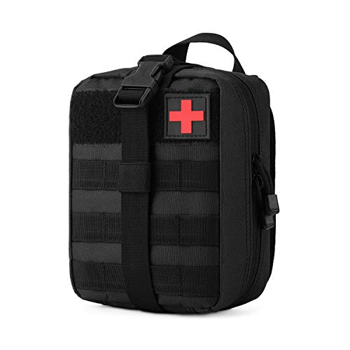 Gonex MOLLE Medical Pouch EMT First Aid Pouch Rip-Away IFAK Tactical Utility Pouch for Outdoor Activities Medical Supplies (Bag Only), Black