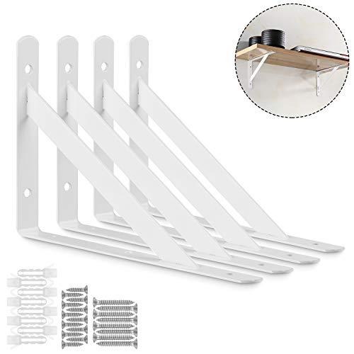 STARVAST 4 Pack Heavy Duty Shelf Brackets 7.8 x 4.7 inch, Floating Shelves White Triangle Shelf Brackets, 90 Degree Angle Wall Mounted Shelf Supporter Corner Bracket (200x120mm)