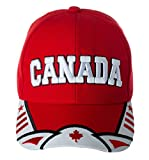 Canada Maple Leaf National Canadian Pride Hat - 100% Acrylic Embroidered Cap (Red/White)
