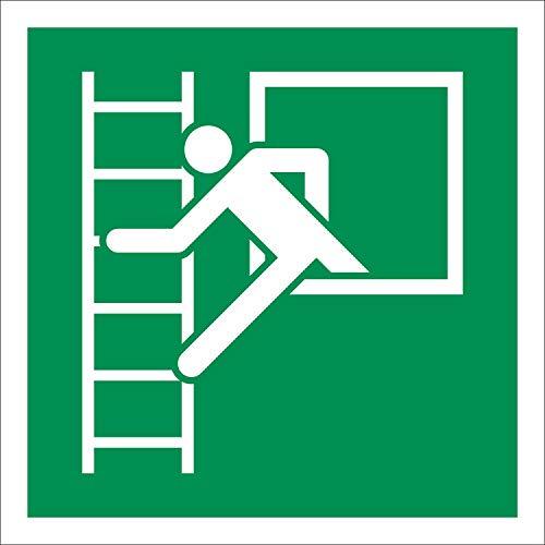 Notausstieg Rettungszeichen Rettungswegschild Aufkleber Nachleuchtend ASR A1.3 150 x 150 mm