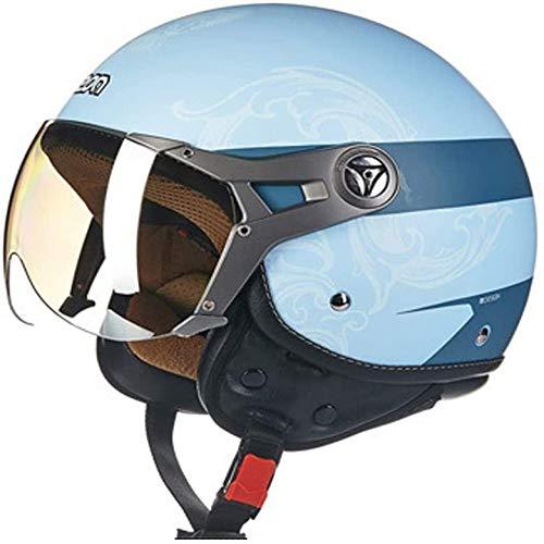 ZHXH Ciclomotor Harley Half Helmet Señoras ciclomotor Scooter Four Seasons Ski 3/4 Open Face Half Helmet/dot Aprobado,