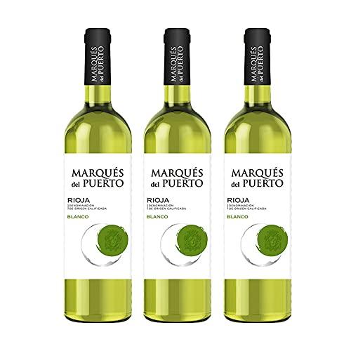 Vino Blanco Marques del Puerto de 75 cl - D.O. Rioja - Bardinet (Pack de 3 botellas)