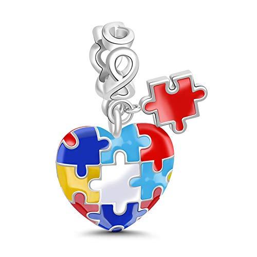 GNOCE Charm Ciondolo Puzzle Multicolori a Forma di Cuore in Agento S925 Consapevolezza Dell Autismo Charm Bead per Bracciali e Collana Regalo di Natale per Famiglia Moglie Figlia Amico