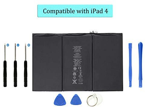 DDS-DUDES Batteriewechsel für iPad 4 Interne 11560-mAh-Li-Ionen-Batterien Kompatibel mit A1458, A1459, A1460 + Reparaturwerkzeugen
