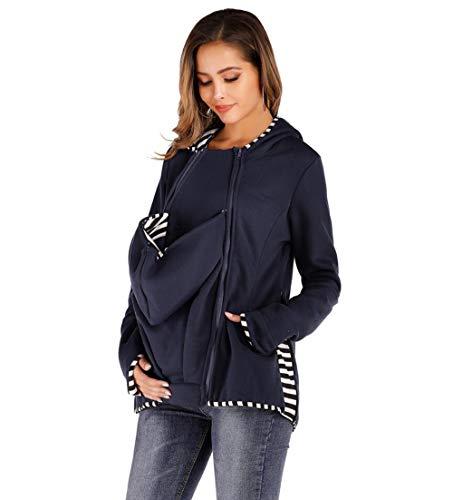 HKDFFC 3In1 Kapuzen-Sweatshirt Babywearing/Mutterschaft Jacke, All-Weather Mama Känguru Jacket Funktionsjacke Für Mama Und Baby,Blau,XXXL