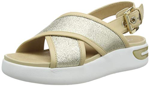 Geox D OTTAYA Sandal A, Sandalias de Talón Abierto Mujer, Dorado (Gold/Sand C2217), 38 EU