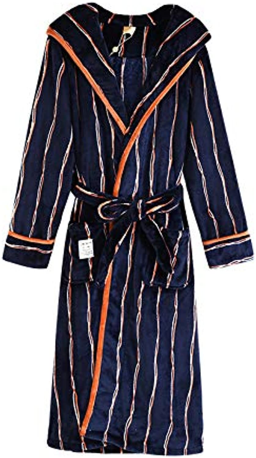 Robe Couples Robe Men's Long Thick Bathrobes Ladies Loose Cute Home Service Hooded Pocket Couple Pajamas (color   Dark bluee, Size   XXL)