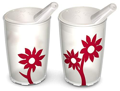 Ornamin Becher mit Anti-Rutsch Blume 220 ml natur/rot und Schnabelaufsatz 2er-Set (Modell 820 + 806) / Schnabelbecher, Trinkbecher, Kinderbecher