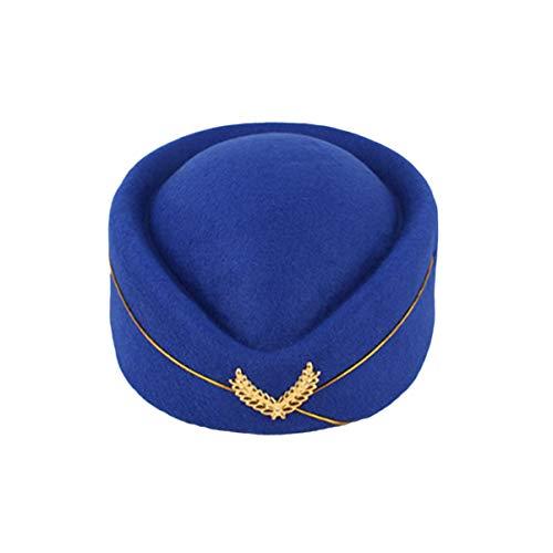 KESYOO 1 Unid Gorra de Azafata de Aire Gorro de Azafata de Fieltro de Lana Gorra de Azafata de Aerolnea para Mujeres Adultos Damas Talla M (Azul Real)