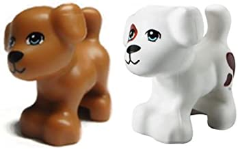 LEGO NEW 2 pcs FRIENDS LOT BROWN DOG & WHITE DOG WITH SPOTS Animal Pet shop Minifigure Minifig Figure Cute Doggy puppy