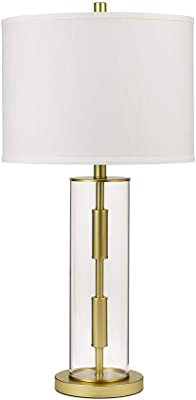 """Catalina Lighting 21744-001 Contemporary Glass Cylinder Table Lamp, LED Bulb Included, 30"""", Gold"""