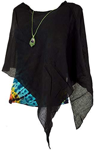 Guru-Shop Lagenlook Poncho, Leichter Poncho, Pixi Poncho, Damen, Schwarz, Baumwolle, Size:40, Jacken, Mäntel & Ponchos Alternative Bekleidung