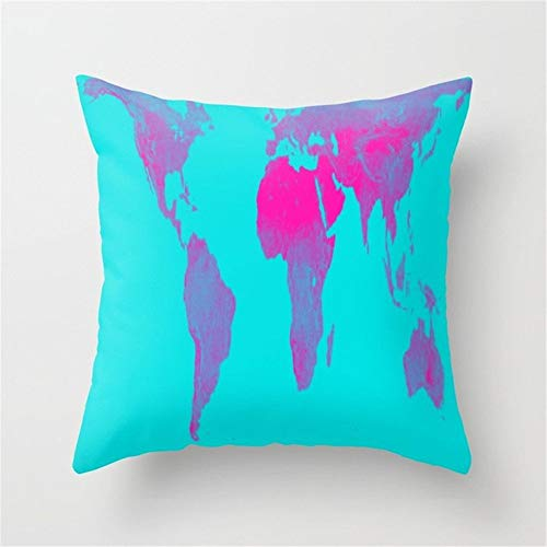 Jacklee World Kaart Gall Peters Turkoois Roze Gooi Kussen Case Sofa Kussen Cover Home Decor 18 X 18 inches