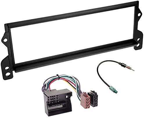 Sound-way Kit Montaggio Autoradio, Mascherina 1 DIN, Cavo Adattatore Connettore ISO, Adattatore Antenna Fakra, compatibile con Mini Cooper 2000-2006