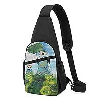 散歩、日傘をさすパンダ 斜め掛け ボディ肩掛け ショルダーバッグ ワンショルダーバッグ メンズ 多機能レジャーバックパック 軽量 大容量