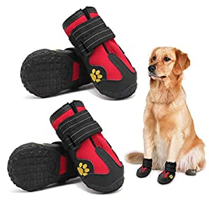 PK.ZTopia Dog Boots, Waterproof Dog Boots, Dog Rain Boots,Dog Booties with Reflective Rugged Anti-Slip Sole and Skid-Proof,Outdoor Dog Shoes for Medium to Large Dogs (Black-Red 4PCS).