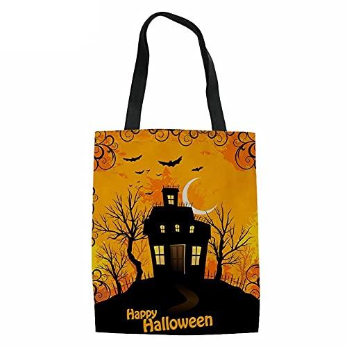 Borse tote di Halloween Grandi sacchetti riutilizzabili di Halloween Borse Canva di Halloween Trucco o scherzetto per bambini Halloween Party a tema (Color : Clear, Size : M)